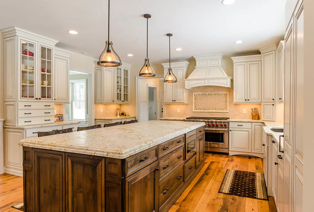 White Kitchen with a Stain Color Island